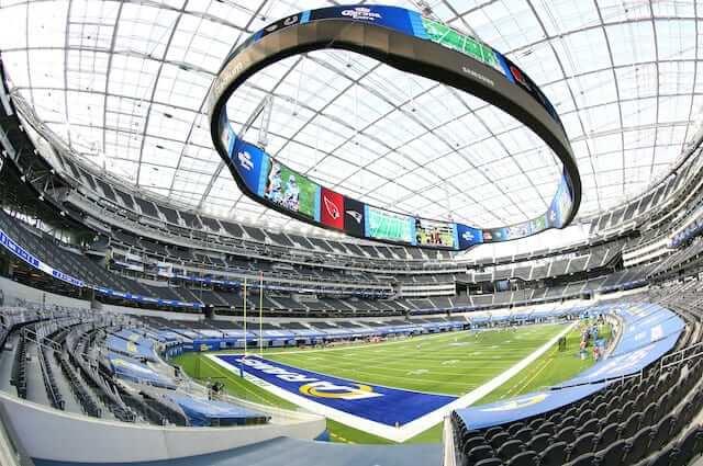 SoFi Stadium view, video board